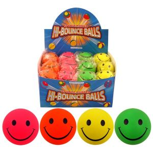 24 x Hi Bounce Smiley Face Hard Sponge Rubber Bouncy Ball Dog Wholesale - Pink Yellow Green Orange